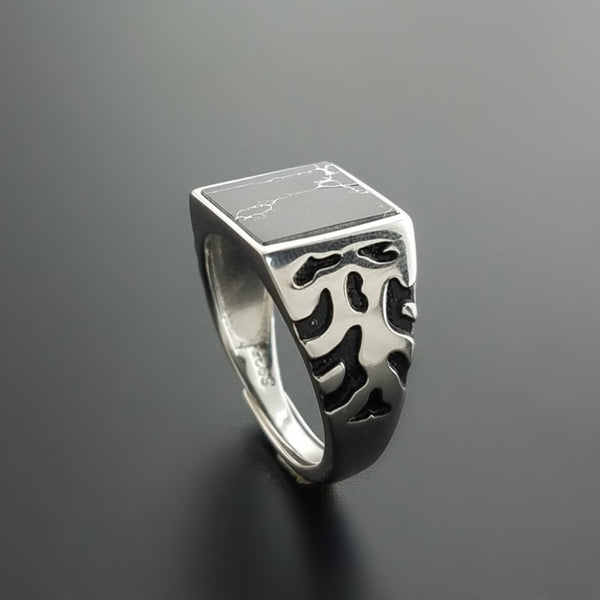 HOT Natural Black Onyx Square Stone 925 Sterling Silver Mens Ring Wide Band Vintage Thai Silver Jewelry Cool Men Cuff Ring Gifts