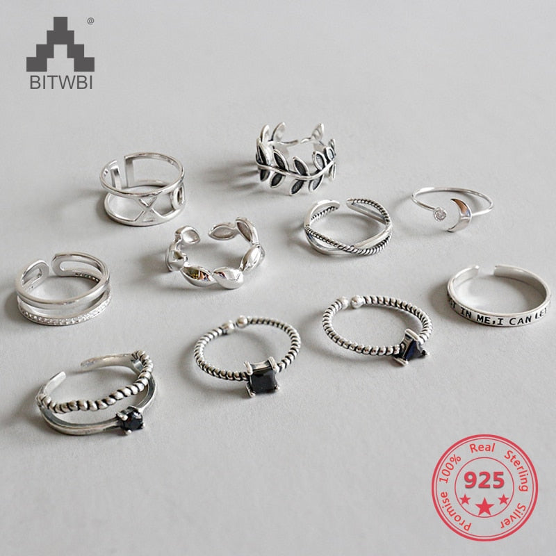 925 Sterling Silver Personality Mix Fashion Concise Retro Men And Women Vintage Adjustable Silver Ring