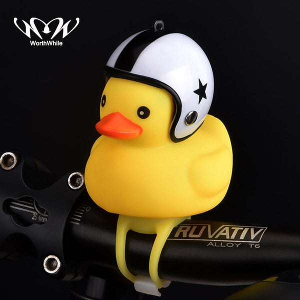 WorthWhile Bicycle Duck Bell with Light Broken Wind  Small Yellow Duck MTB Road Bike Motor Helmet Riding Cycling Accessories