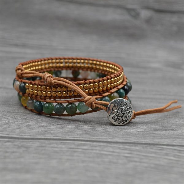 Fashion Women Multi-layer Indian Green Onyx Leather Bracelet Copper Beads Wrap Bracelet Bohemia Yoga Life Tree Jewelry Dropship