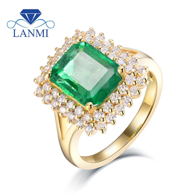 Ring Sizes For Women Natural 7x9mm Emerald Real 18Kt Yellow Gold Genuine Diamonds Anniversary Engagement Femme Rings Jewelry