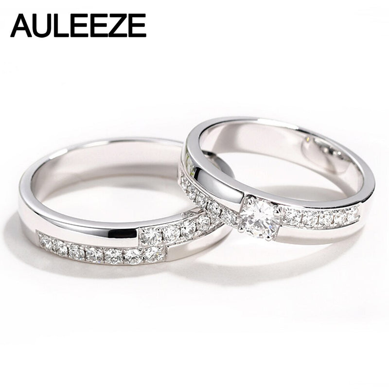AULEEZE 0.67cttw Real Diamond Wedding Band Solid 18K White Gold Couple Rings For Lovers Double Row Diamond Marriage Ring