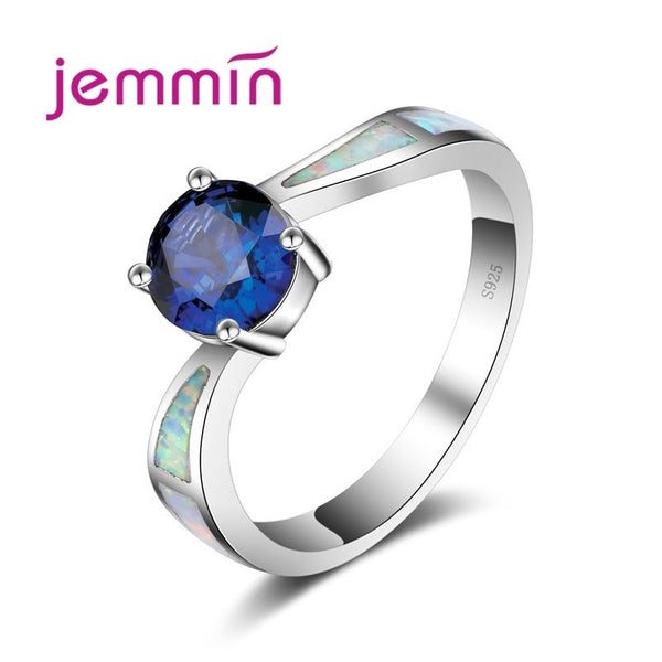 Simple Ring Round Dark Blue Created Fire Opal Rings for Women Trendy Engagement Wedding Band Jewelry Size 6 7 8 9
