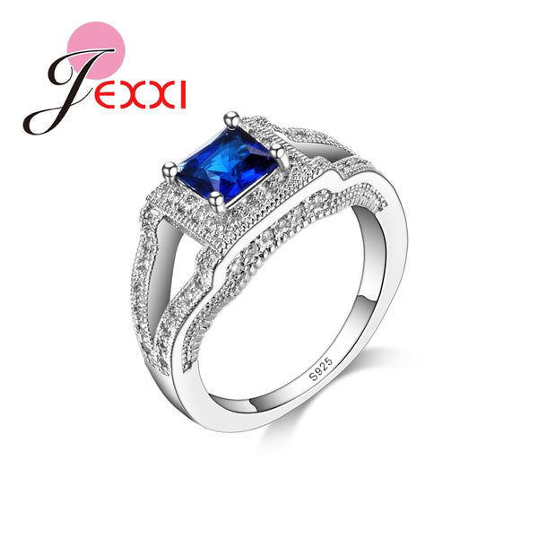 Women Elegant Top Quality Ring Blue Crystal Square Shape Elegant Wedding Bridal Finger Rings Jewelry
