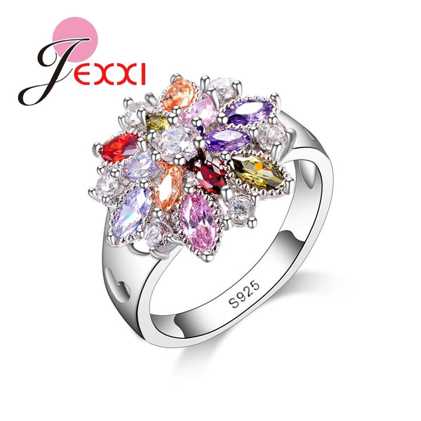 Girls Bling Jewelry Finger Accessories Fashion 925 Sterling Silver Colorized CZ Flower Shape Rings Wholesale