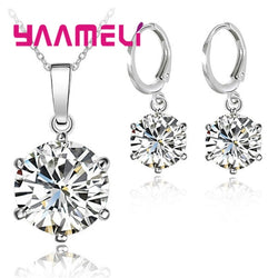 925 Sterling Silver Jewelry Sets Cubic Zircon Crystal Lever Back Earrings Pendant Necklace Nice Gifts For Women Ladies