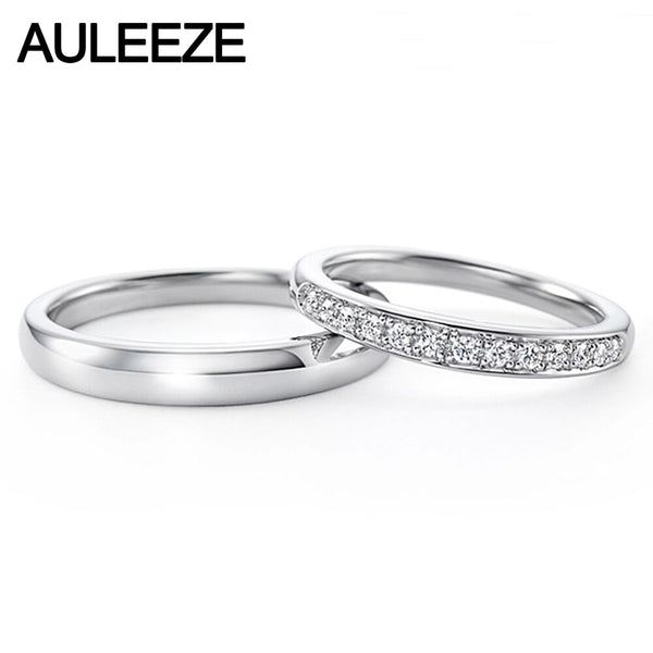 AULEEZE Solid 18K White Gold Real Diamond Couple rings Natural Diamond Anniversary Wedding Bands For Women and Men