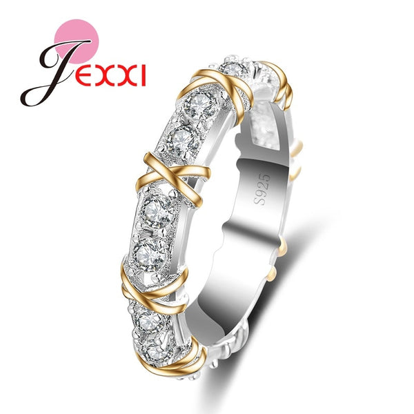 Classic White Crystal Pave Woman 925 Sterling Silver Rings Fashion Wedding Jewelry Cross X Shape Ring