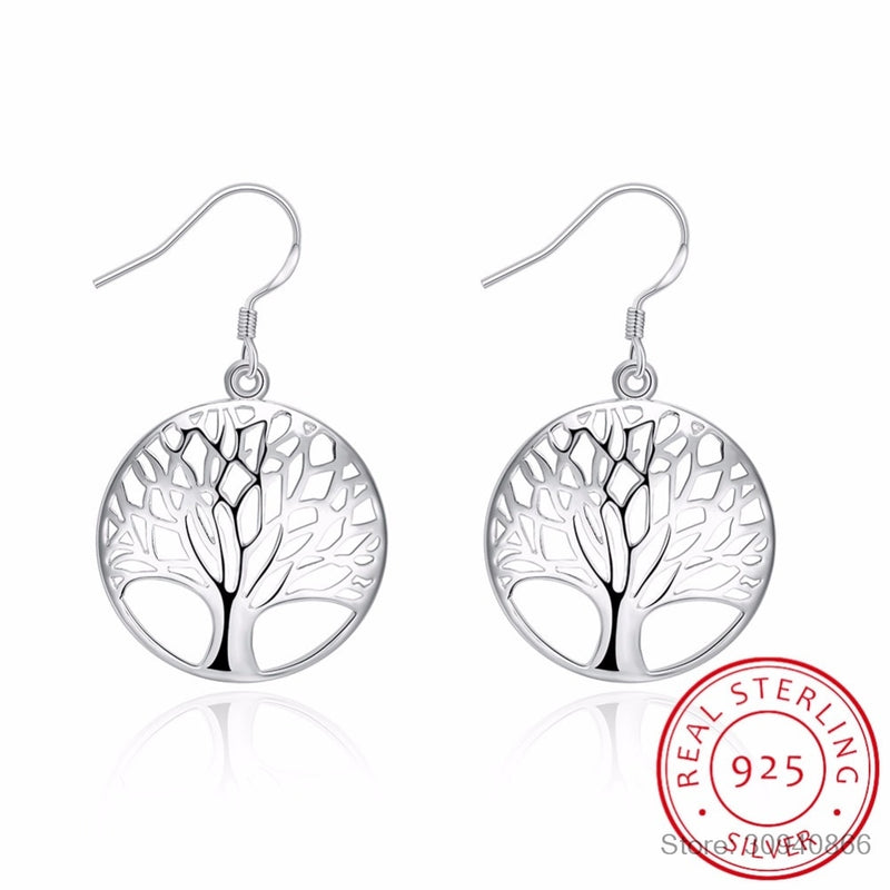Tree of Life 925 sterling silver Drop Earrings Women Hollow Out Tree Pattern Round Earring moda mujer Jewelry 2020 Pendientes