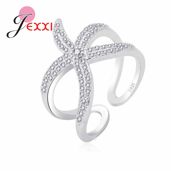 925 Sterling Silver Brand Jewelry Paved Full White CZ Zircon Stone Cute Seastar Adjustable Rings for Girls
