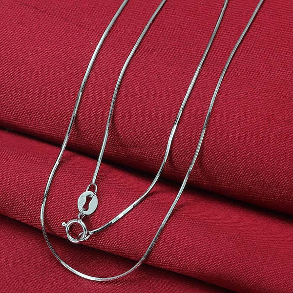 "Pure 18K White Gold Necklace 0.6mmW Snake 16""L 1.2-1.6g"
