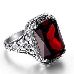 Rectangle Vintage Red Ruby Rings For Women New Fashion Gemstone Silver 925 Jewlery Ring Wholesale Party Gifts