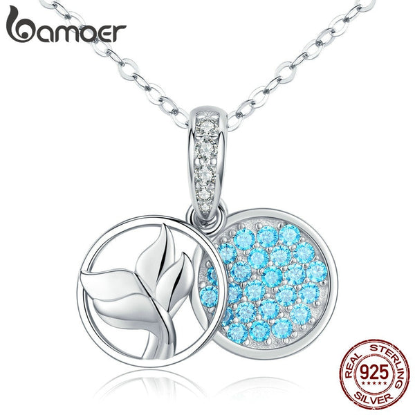 bamoer Blue Mermaid Fish Tail Pendant Necklaces for Women 925 Sterling Silver Chain Pendant Fashion Jewelry Bijoux SCN343