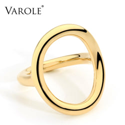 Varole New Arrival Cold Wedding Rings for Women Irregular Korean Simple Style Round Copper Silver Ring jewelry Wholesale