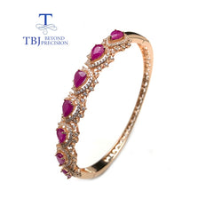 TBJ,Noble elegant 925 rose silver with natural ruby gemstone Timeless style gemstone bangle for woman wedding anniversary gift
