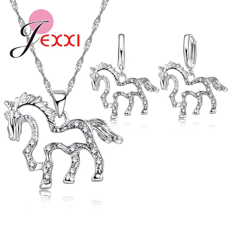 Animal Jewelry Sets For Women Hollow Unicorn Earrings Sets Pendants Necklaces For Wedding Accessories