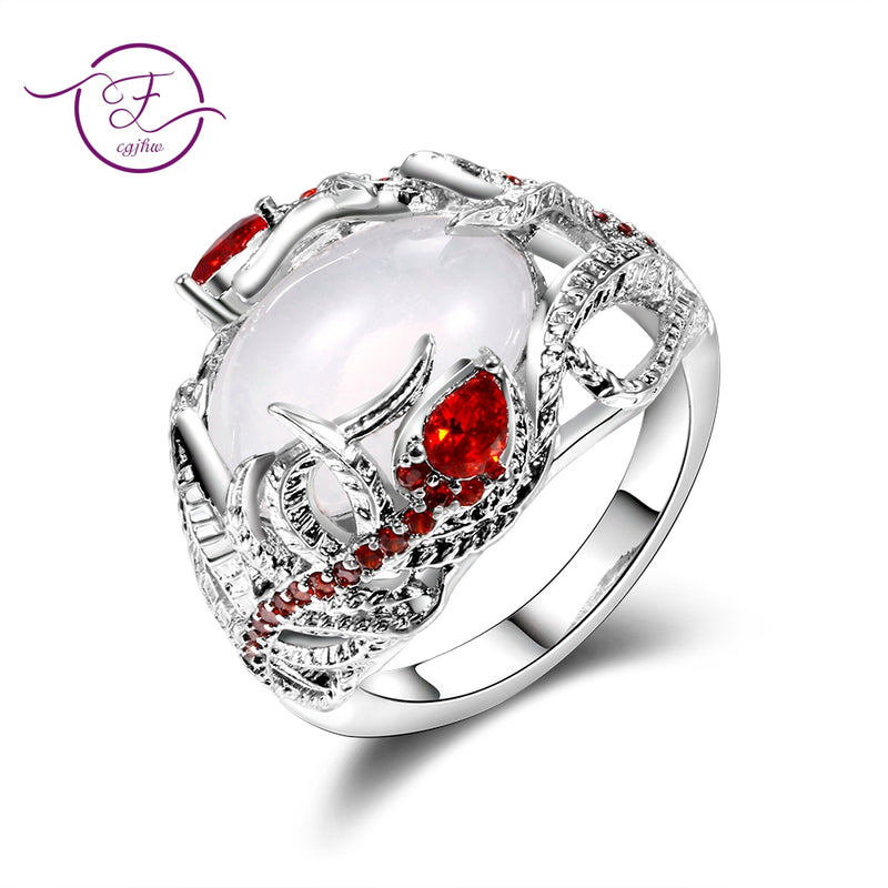 Fashion Creative Moonstone Feather Bezel Settiing Rings For Women Vintage Red Ruby Engagement Wedding Ring