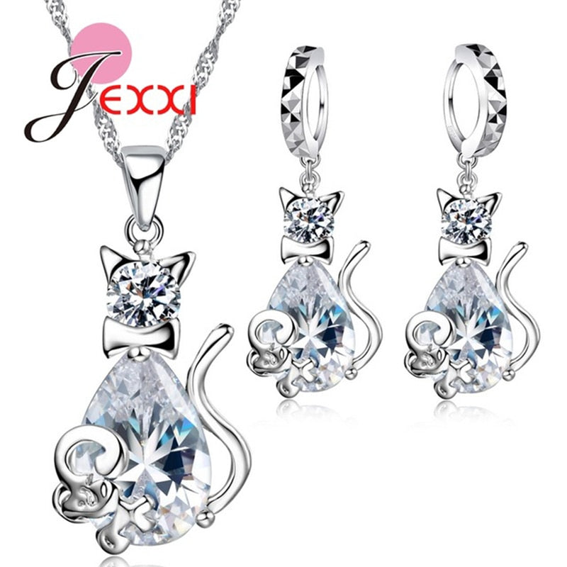 Fashion 925 Sterling Silver Sweet Cat Shape Women Necklace Earrings Jewelry Set With Crystal Nice Party Wedding Gift
