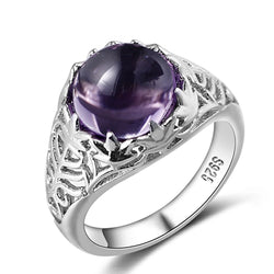 925 Sterling Silver Round Natural Amethyst Wedding Engagement Rings For Women Fine Jewelry Size 6-10