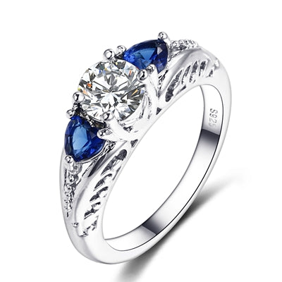 925 Sterling Silver Sapphire Gemstone Wedding Engagement Rings for Women Fine Jewelry Gift Wholesale