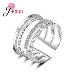 925 Sterling Silver 4 Rows Of Open Ring  Pliers Crystal Zircon Jewelry Valentine's Day Present