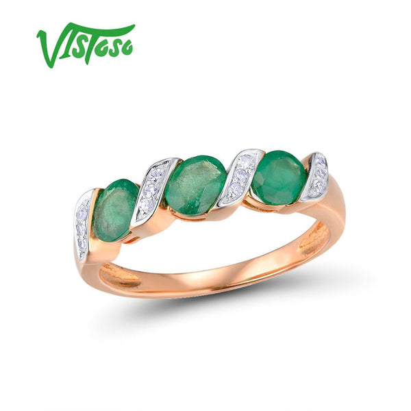 VISTOSO Gold Rings For Women Genuine 14K 585 Rose Gold Ring Sparkling Diamond Magic Emerald Engagement Round Rings Fine Jewelry