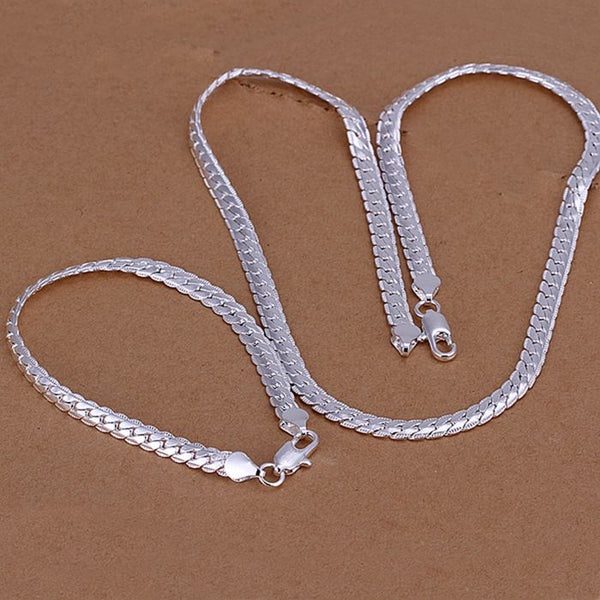 Jewelry silver plated jewelry set, fashion jewelry set 5MM Full Side Necklace & Bracelet Jewelry Set SMTS085