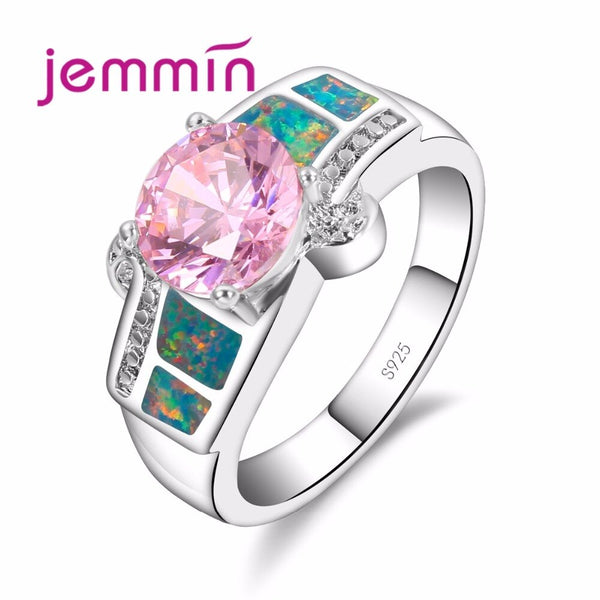 Classic Elegant Rainbow Opal Ring Women Wedding Engagement Jewelry Gorgeous Pink Clear Crystal 925 Sterling Silver Band