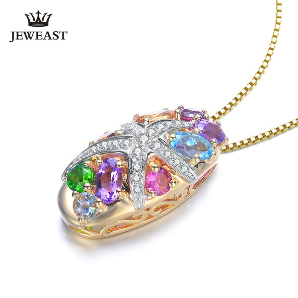 Natural topaz 18K Pure Gold Pendant Real AU 750 Solid Gold  Upscale Trendy Classic Party Fine Jewelry Hot Sell New 2019