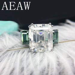 AEAW Solid 14K White Gold 8ctw Moissanite Emerald  Baguette Ring And green Moissanite Accent luxury Fine gold jewelry for Women