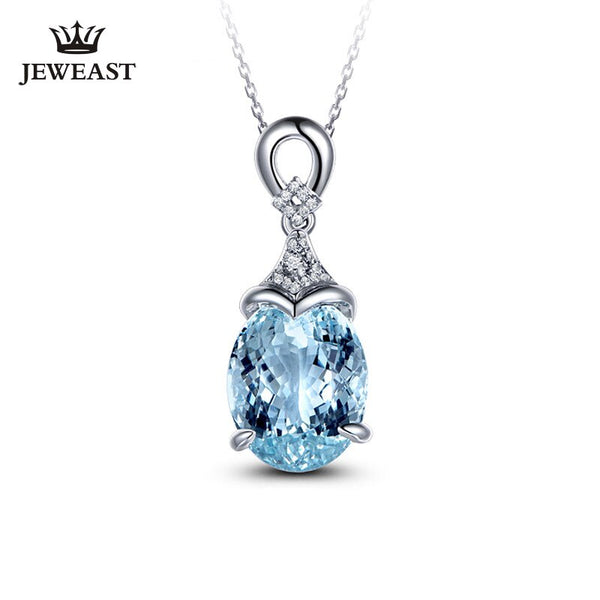 Natural aquamarine 18K Pure Gold Pendant Real AU 750 Solid Gold  Upscale Trendy Classic Party Fine Jewelry Hot Sell New 2020