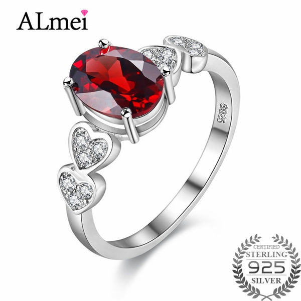 Almei Red Oval Cubic Zirconia Stone Engagement Wedding Rings 925 Sterling Silver Fine Jewelry for Women Gift with Box 40% FJ024