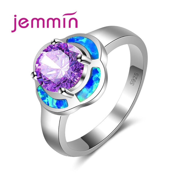 Romantic Colorful Flower Ring Inlaid Big Purple Crystal Ocean Blue Fire Ring for Wedding Party 925 Sterling Silver Jewelry