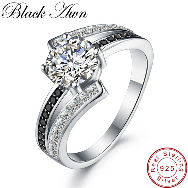 3.9g Classic 925 Sterling Silver Jewelry Row Black&White Stone Wedding Rings for Women Femme Bague C334