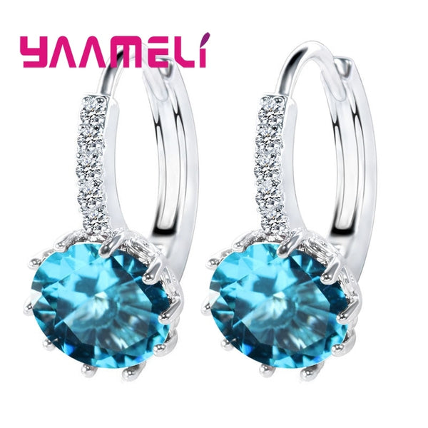 Big Sale 925 Sterling Silver Loop Hoop Earrings Candy Color Cubic Zircon Charms Women Jewelry Wedding Accessory Brincos