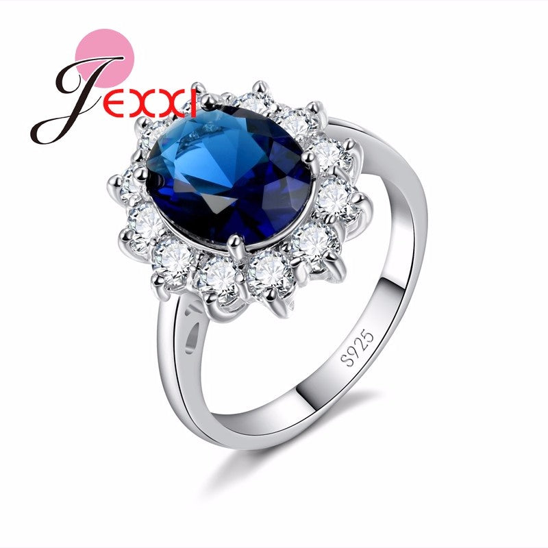 Charms 925 Sterling Silver Bridal Wedding Accessories Clear Round Crystal Stone Ring for Women Anillo