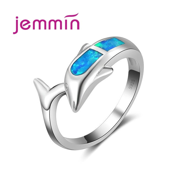 Exquisite Lovely Animal Ring 925 Sterling Silver Loop Inlaid Fashion Opal Stone Dolphin Shape Best Gift Hot Sell