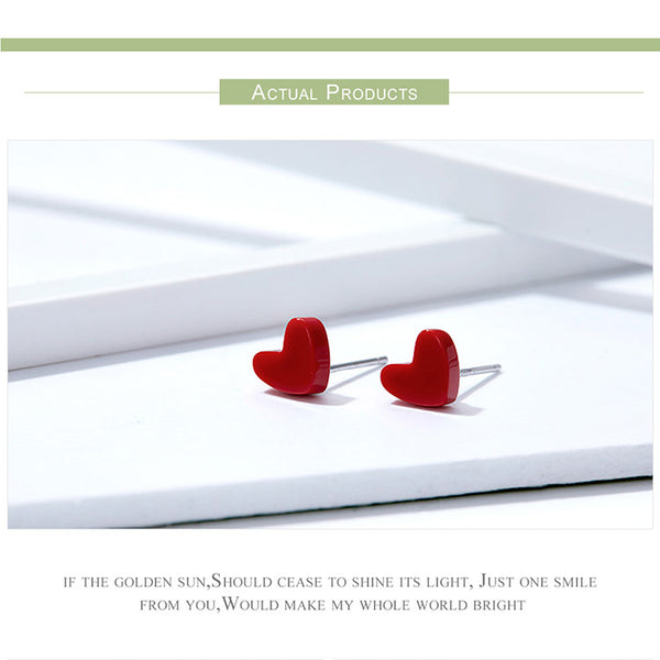 925 Sterling Silver Stud Earrings Anti Allergic Red Stone Turquoise Ear Pin Women  Female Korean Jewelry SCE595