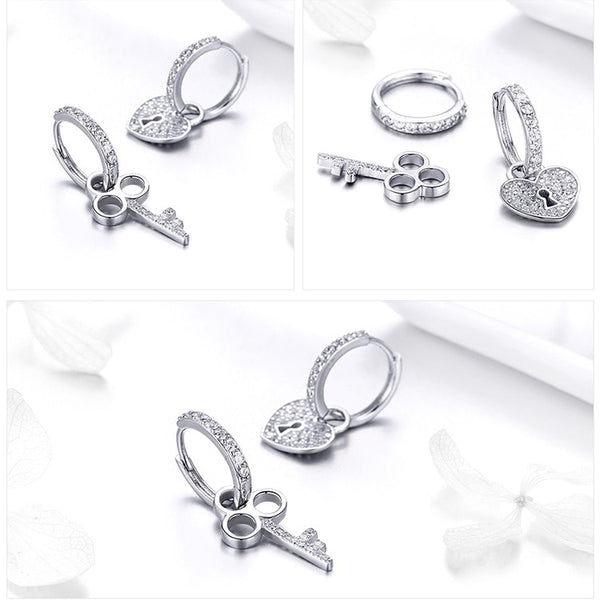 925 Sterling Silver Love Heart Shape Key Lock Drop Earrings for Women Wedding Engagement Jewelry SCE577