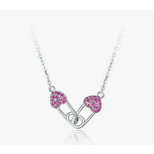 Heart Pin Necklaces for Women 925 Sterling Silver Full Pave CZ Short Choker Necklace Female Korean Jewelry BSN056
