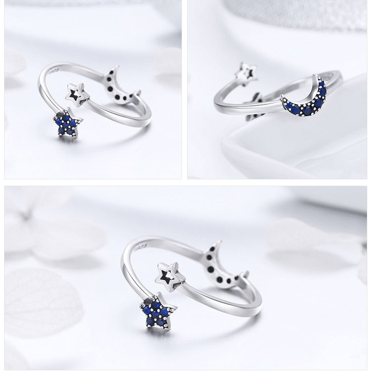 925 Sterling Silver Sparkling Blue Moon Star Clear CZ Finger Rings for Women Wedding Engagement Jewelry anel SCR437