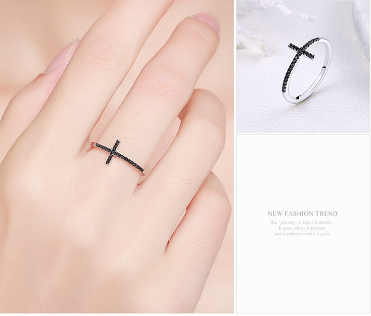 925 Sterling Silver Faith Cross Shape Finger Rings for Women ,Black Clear CZ Sterling Silver Jewelry Gift SCR067