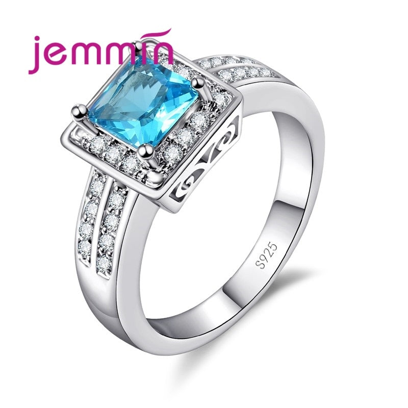 Beautiful Women/Girl Wedding CZ 925 Sterling Silver Finger Ring Square Cut Austrian Crystal Rings Vintage Bridal Jewelry