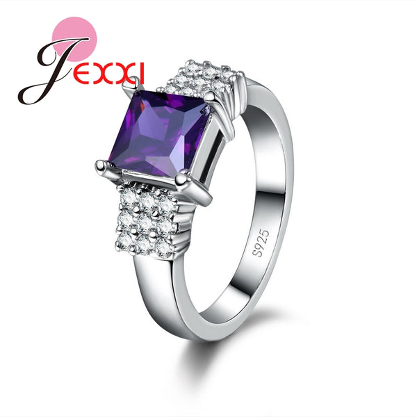 Women Flash Colorized Crystal Jewelry Trendy 925 Sterling Silver Anneau Sapphire 2 Optional Finger Rings