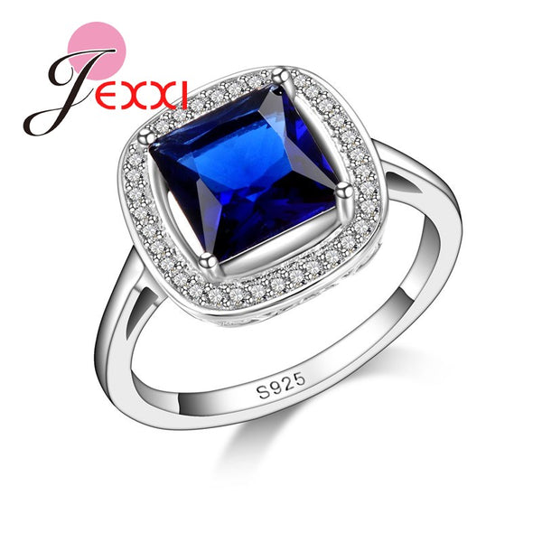 Elegant Simpel Design 925 Sterling Silver Cubic Zirconia Blue Square Ring for Women Girl Best Gifts Anillo Bijoux