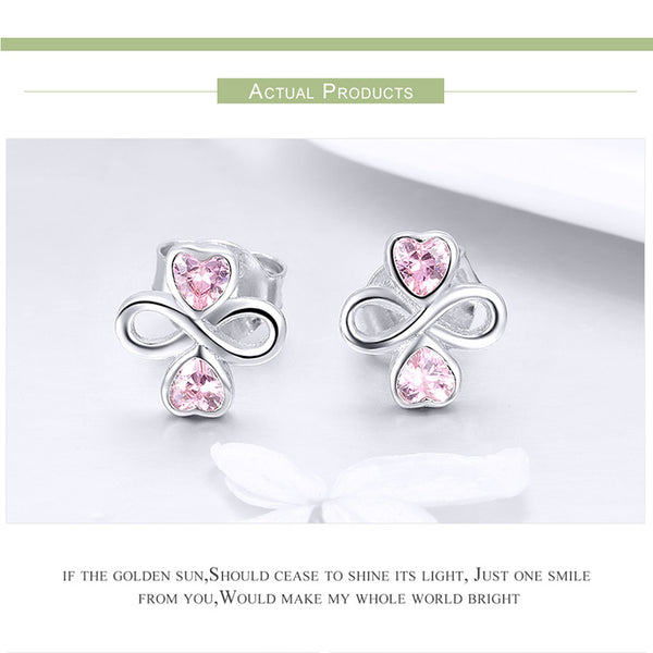 925 Sterling Silver Infinite Love Pink  Heart Clover Small Stud Earrings for Women Authentic Silver Jewelry SCE455