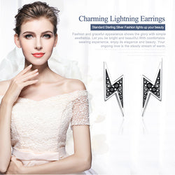 925 Sterling Silver Exquisite Lightning & Black CZ Stud Earrings for Women Fine Jewelry Brincos SCE156