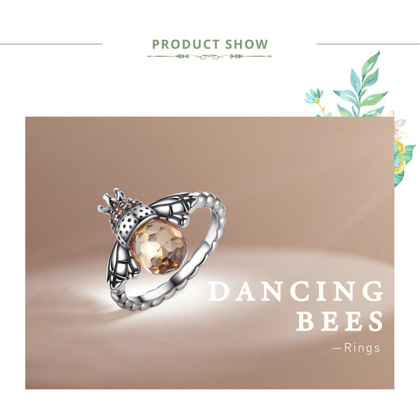 925 Sterling Silver Orange Wing Animal Bee Finger Ring for Woman Sterling Silver Jewelry Christmas SCR025