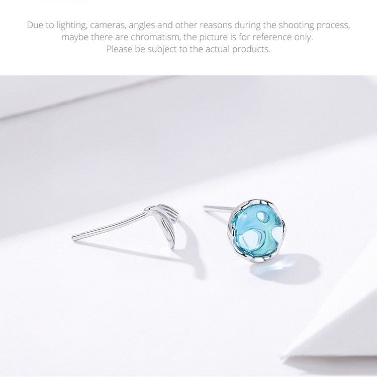Mermaid Stud Earrings for Women 925 Sterling Silver Sea Blue Fish Tail Crystal Earring 2019 Girl Gifts Brincos SCE630