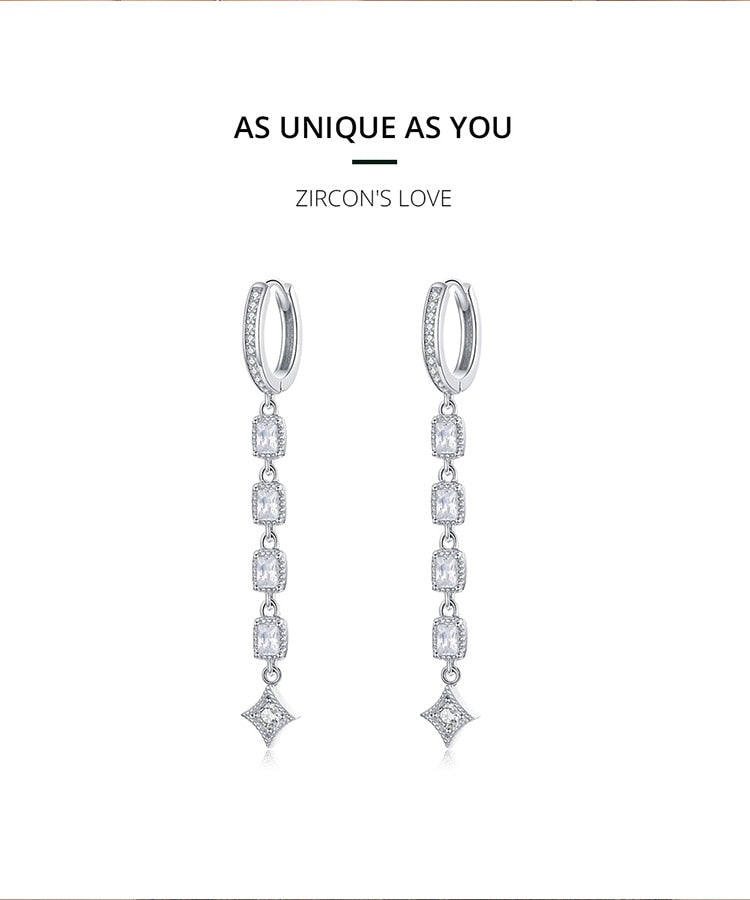 Geometric Long Dangle Earrings for Women Wedding Engagement Jewelry 925 Sterling Silver Female Luxury Bijoux SCE583